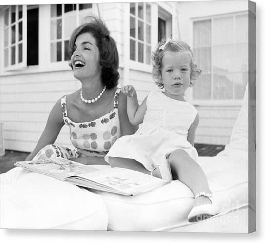 First Ladies Canvas Print - Jacqueline And Caroline Kennedy At Hyannis Port 1959 by The Harrington Collection