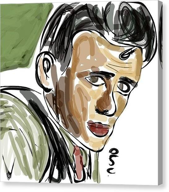 James Dean Canvas Print - #jamesdean #cartoon #sketch #sketching by Nuno Marques