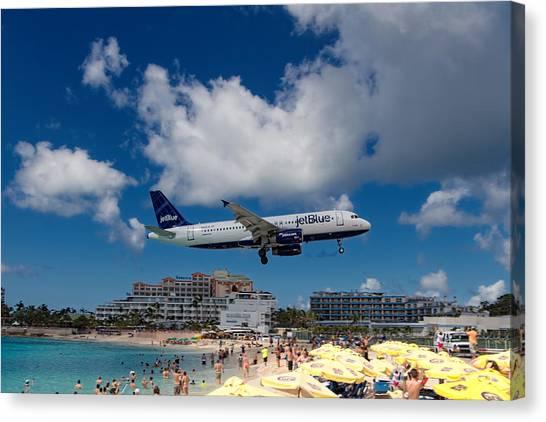 Jetblue Canvas Print - jetBlue landing at St. Maarten by David Gleeson