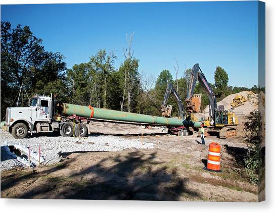 Controversial Canvas Print - Keystone Xl Pipeline Construction by Jim West