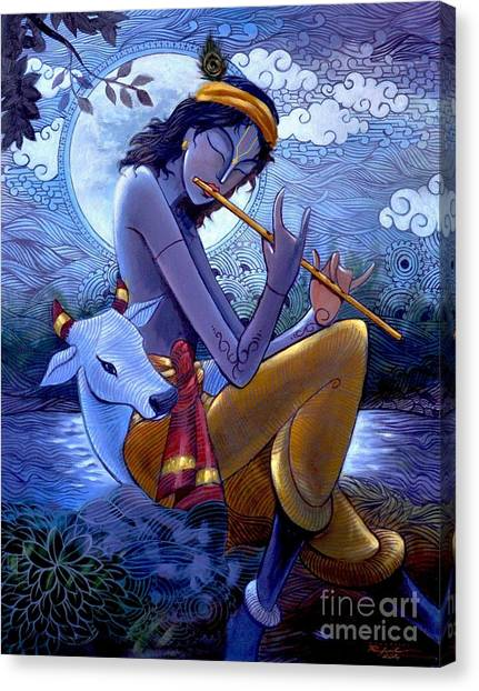 Krishna Canvas Print by Rajesh babu Ponnayyan