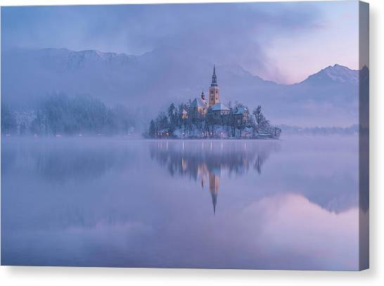 Winter Canvas Print - Lake Bled by Ales Krivec