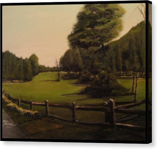 Landscape Of Duxbury Golf Course - Image Of Original Oil Painting Canvas Print