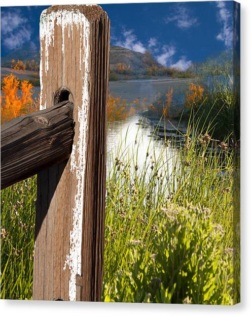 Landscape With Fence Pole Canvas Print