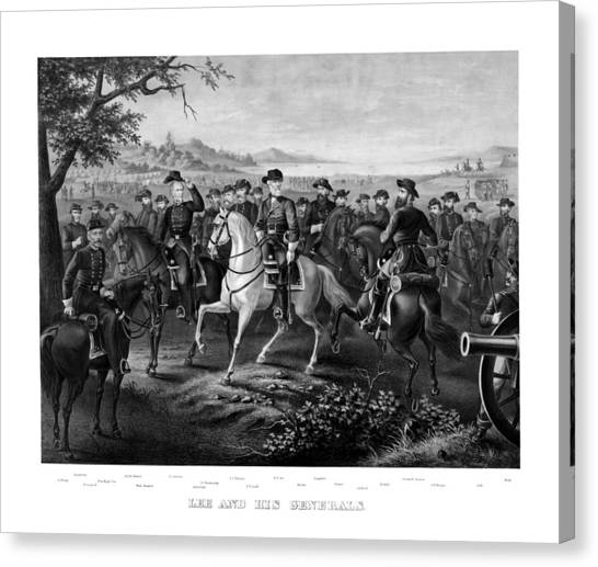 Confederate Army Canvas Print - Lee And His Generals by War Is Hell Store