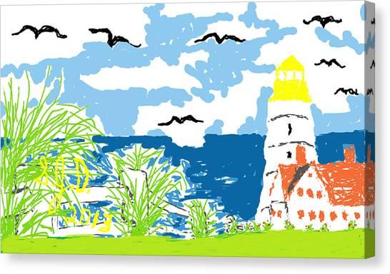 Lighthouse By The Sea Canvas Print by Joe Dillon