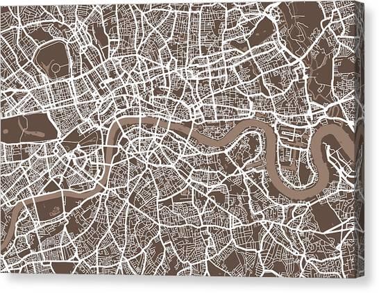 England Canvas Print - London England Street Map by Michael Tompsett