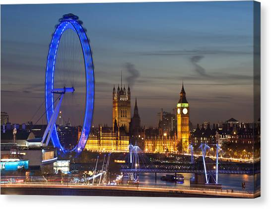 Palace Of Westminster Canvas Print - London Night Skyline by Matthew Gibson