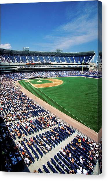 Texas Rangers Canvas Print - Long View Of Baseball Diamond by Panoramic Images