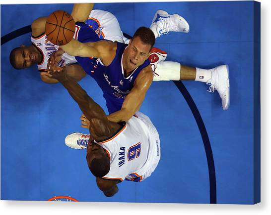 Russell Westbrook Canvas Print - Los Angeles Clippers V Oklahoma City by Ronald Martinez