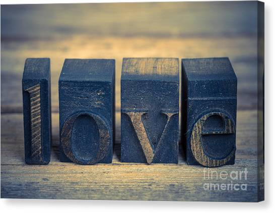 Printers Canvas Print - Love In Printing Blocks by Jane Rix