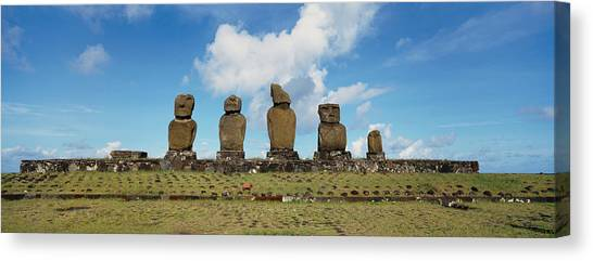 Easter Island Canvas Print - Low Angle View Of Moai Statues by Panoramic Images