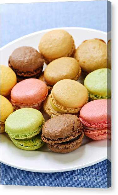 Biscuits Canvas Print - Macaroon Cookies by Elena Elisseeva
