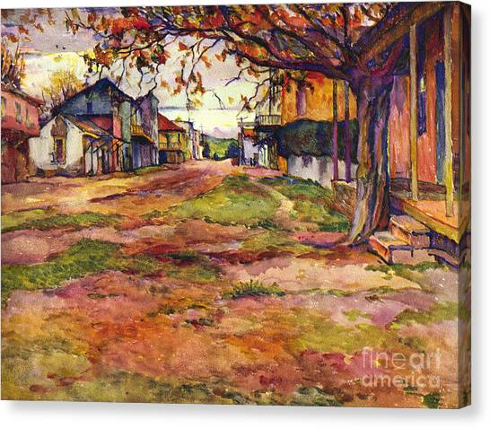 Main Street Of Early Spanish California Days San Juan Bautista Rowena M Abdy Early California Artist Canvas Print