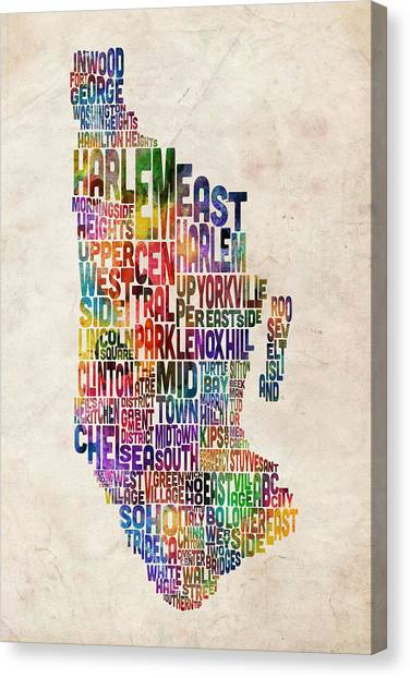 Central Park Canvas Print - Manhattan New York Typographic Map by Michael Tompsett