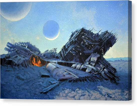 Space Ships Canvas Print - Marooned by Armand Cabrera