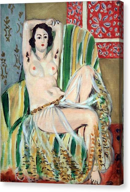 Matisse's Odalisque Seated With Arms Raised In Green Striped Chair Canvas Print