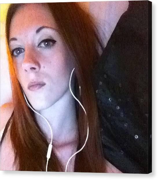Headphones Canvas Print - #me #self #photo #recent #girl #woman by Sara North