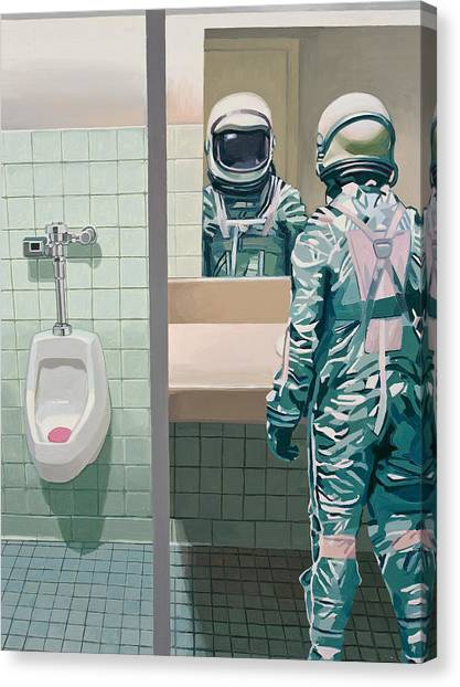 Science Fiction Canvas Print - Men's Room by Scott Listfield