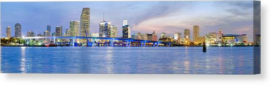 Miami Skyline Canvas Print - Miami 2004 by Patrick M Lynch