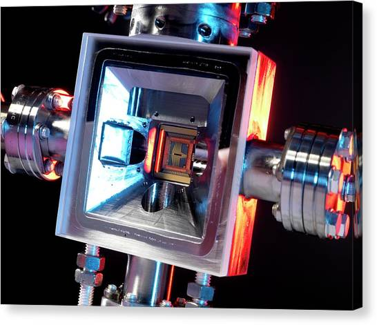 Microfabricated Ion Trap Canvas Print by Andrew Brookes, National Physical Laboratory/science Photo Library