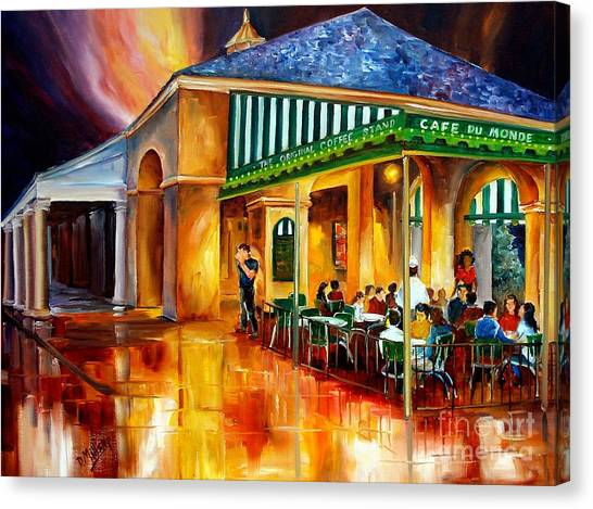 Bistros Canvas Print - Midnight At The Cafe Du Monde by Diane Millsap