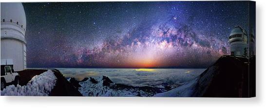 United Way Canvas Print - Milky Way Over Telescopes On Hawaii by Walter Pacholka, Astropics