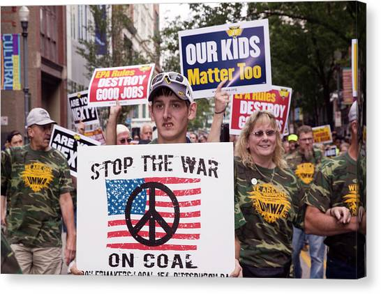 Political Science Canvas Print - Miners Rally Against Coal Burning Limits by Jim West