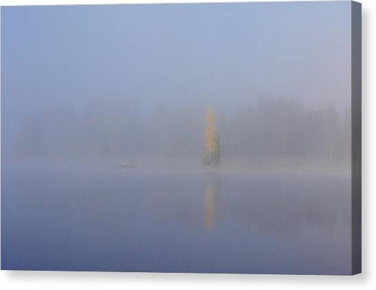 Misty Morning On A Lake Canvas Print