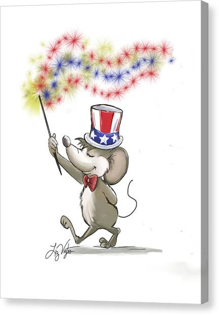 Cookout Canvas Print - Moe's Happy 4th Of July by Liz Viztes