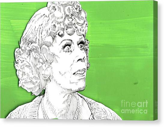 Momma On Green Canvas Print