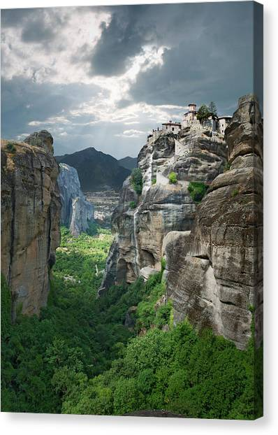 Monastery In The Meteora, Greece Canvas Print