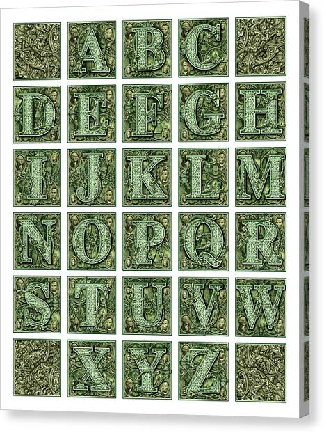Money Alphabet Canvas Print