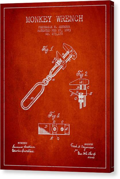 Wrenches Canvas Print - Monkey Wrench Patent Drawing From 1883 by Aged Pixel
