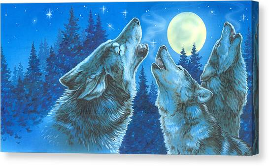 Howling Wolves Canvas Print - Moon Song by Richard De Wolfe