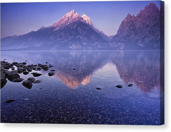 Jenny Lake Canvas Print - Morning Reflection by Andrew Soundarajan