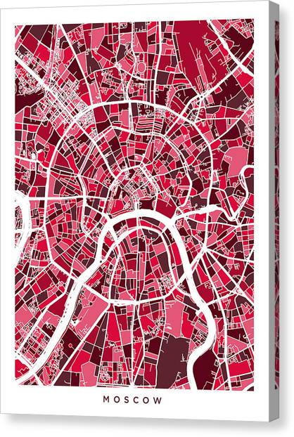 Russia Canvas Print - Moscow City Street Map by Michael Tompsett