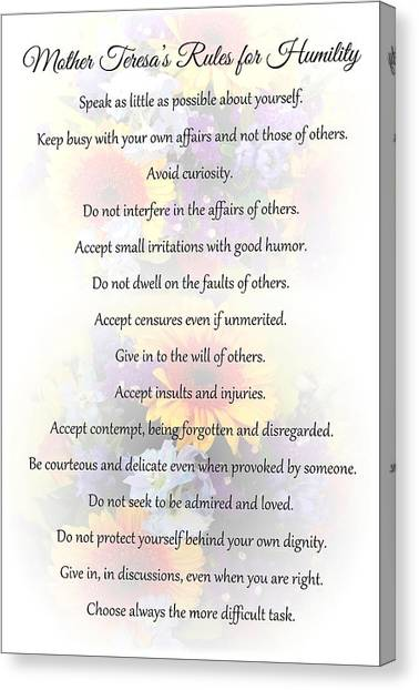Mother Theresa's Rules For Humility Canvas Print