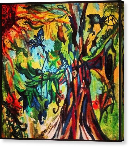 Surrealism Canvas Print - Music In Bird Of Tree by Genevieve Esson