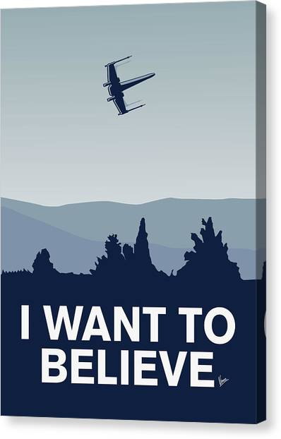 Aliens Canvas Print - My I Want To Believe Minimal Poster-xwing by Chungkong Art