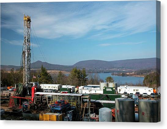 Fracking Canvas Print - Natural Gas Well by Jim West