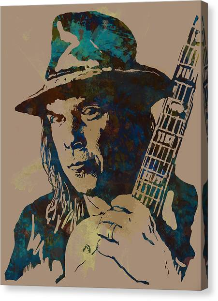 Om Canvas Print - Neil Young Pop Artsketch Portrait Poster by Kim Wang