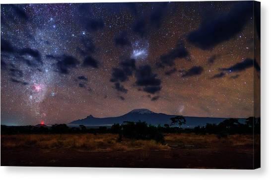Mount Kilimanjaro Canvas Print - Night Sky Over Mount Kilimanjaro by Babak Tafreshi