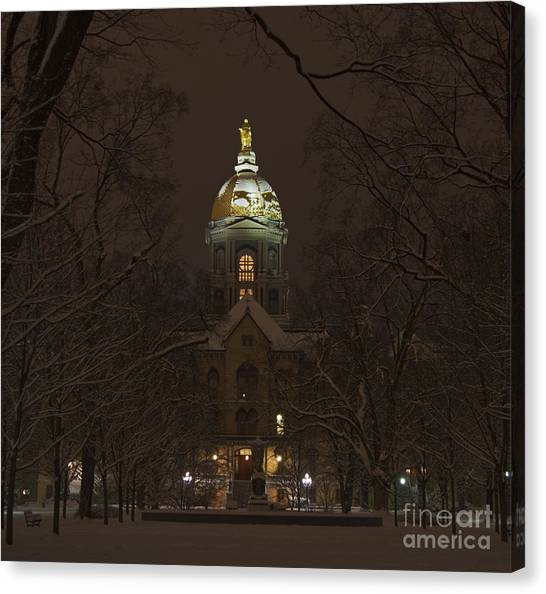 Acc Canvas Print - Notre Dame Golden Dome Snow by John Stephens