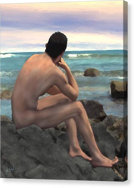 Thoughful Canvas Print - Nude Male By The Sea by Kurt Van Wagner