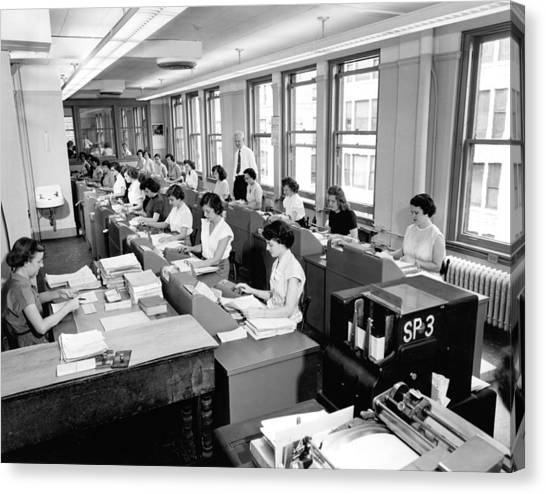 Keypad Canvas Print - Office Workers Entering Data by Underwood Archives
