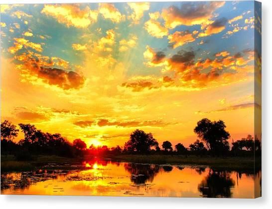 Okavango Swamp Canvas Print - Okavango Delta Sunset by Amanda Stadther