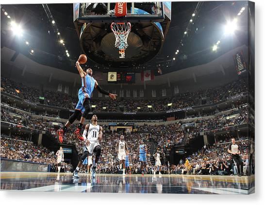 Russell Westbrook Canvas Print - Oklahoma City Thunder V Memphis by Joe Murphy