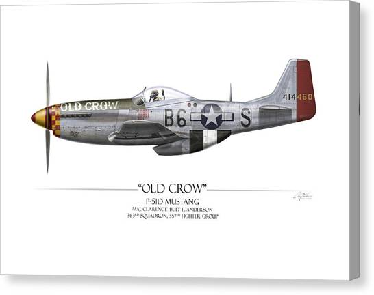Airplanes Canvas Print - Old Crow P-51 Mustang - White Background by Craig Tinder