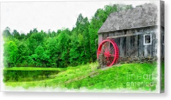 Country Store Canvas Print - Old Grist Mill Vermont Red Water Wheel by Edward Fielding